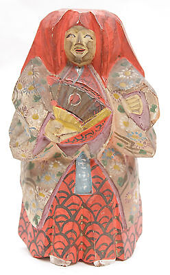 Antique Japanese Nara Ningyo Doll Ittobori Wood Carving Noh Shojo Mingei Meiji