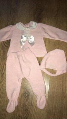 Baby girl Spanish style knitted Pink 3 piece BOW outfit leggings jumper bonnet