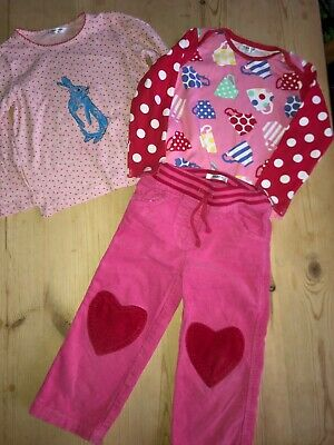 Mini Boden girls heart patch pink cords, teatiime & bunny tops 2/3 years VGC