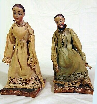 RARE PAIR Antique Santos Carved Wood Figures 18th 19th C Man Woman #2