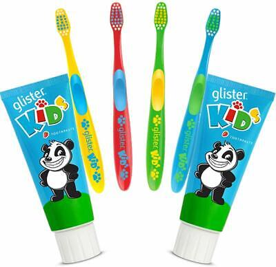 2x Toothpaste Glister Kids 85 gr. and + 4 Toothbrushes bets deal !