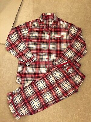 M&S Winter Red White  Flannelette Brushed Checked Girls Pj's Pyjamas 11-12 Years
