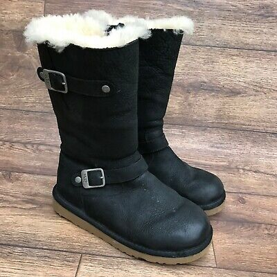 Size Uk 2 Ugg Kensington Black Leather Shearling Lined Sheepskin Mid Calf Boots