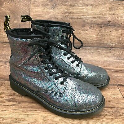 Size Uk 3 Dr Martens Delaney Multicoloured Crackle Metallic Leather Ankle Boots