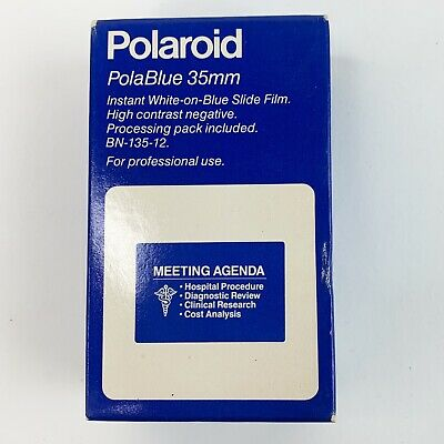 Polaroid PolaBlue 35mm Instant White on Blue Slide Film Sealed Expired Nov 1989