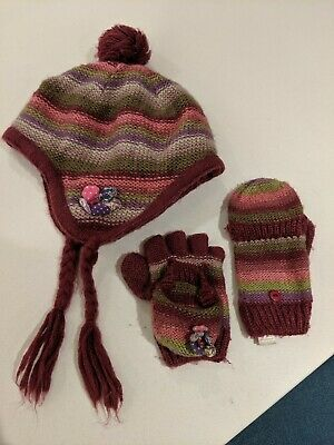 Girls monsoon Winter Hat and Gloves set, age 3-6 years