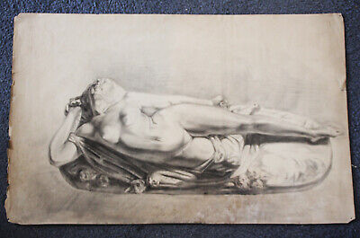 Attic find, Amazing large 18th or 19th century drawing of a reclining nude woman
