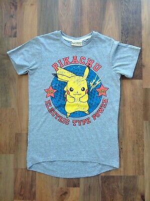 Girls / Boys / Kids Pokemon grey Pikachu tee shirt, age 10 years
