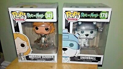 Funko Pop Rick and Morty Snowball #178 and Warrior Summer #341