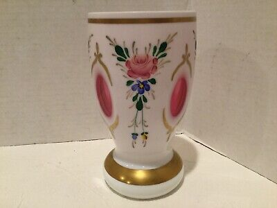 """Czech Bohemian Cased Glass Vase White Cut to Cranberry Hand Painted Flowers 6"""""""