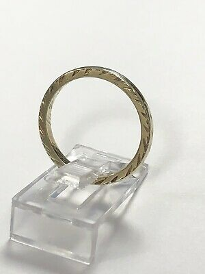 1921 Antique Art Deco 14k Yellow Gold Engraved Wedding Band Ring