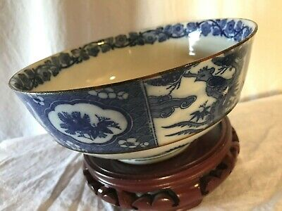 Vintage Chinese Mark Porcelain Hand Painted Blue and White Bowl With Dragon
