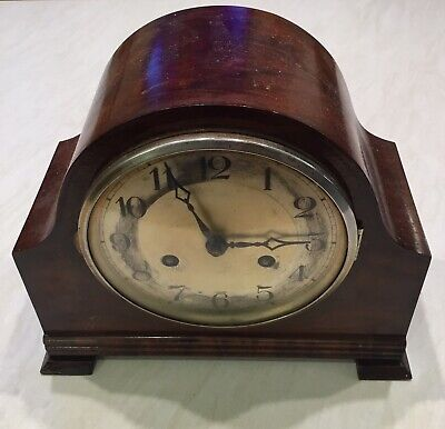 Antique HERMEL mantel clock Complete.Working Intermittent Needs A Service