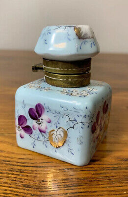 Small Antique Porcelain Inkwell Brass Hinge ~ Hand-painted Violets