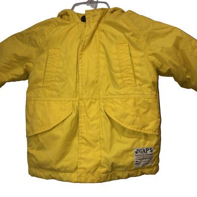 Baby GAP Kids Size Toddler 2 Years Yellow Hooded Boys Jacket Girls Outdoor Coat