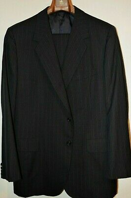 $4850 Oxxford Clothes Navy Pencil Stripe Wool Suit 46L 39W Barneys NY