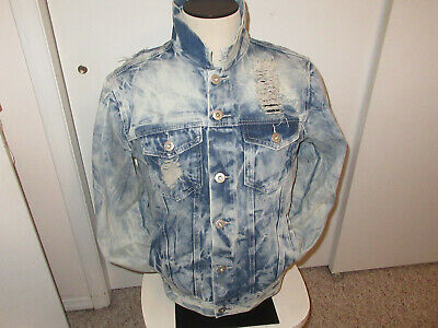 Denim Jacket Distressed Ripped look new with tags