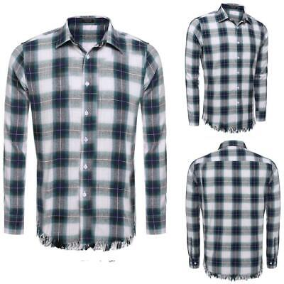 Mens Casual Long Sleeve Button Down Collar Tassel Plaid Shirt GDY7 03