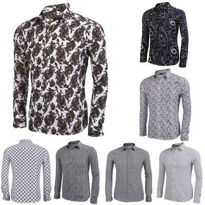 Mens Casual Long Sleeve Fashion Print Button Down Shirt GDY7 01