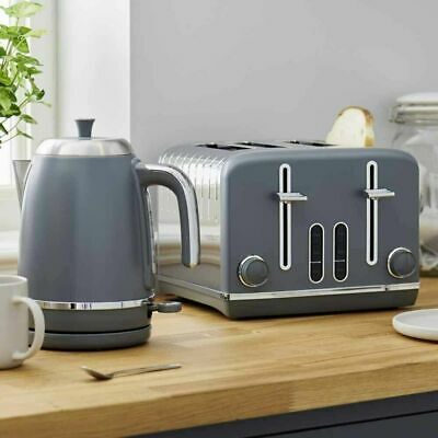 4 Slice Electric Toaster And Kettle Grey and Steel Kitchen Breakfast Set Quality