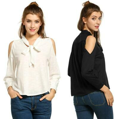 New Women Open Off Shoulder Long Sleeve Lace Up Collar Casual Blouse GDY7