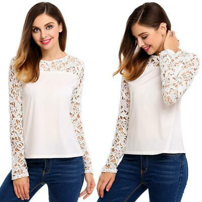 Women Casual O-Neck Long Sleeve Lace Hollow Out Patchwork Pullover GDY7 03