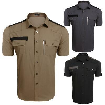Men's Short Sleeve Button Pocket Casual Button Down Tactical Shirt GDY7