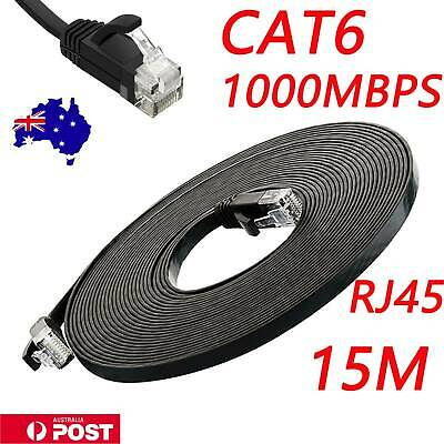 Cat6 RJ45 Network Ethernet Cable Internet Cord lot Gold Plated Black 15m