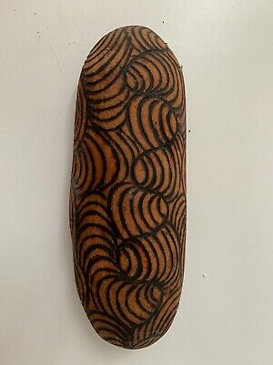 Vintage small wooden Coolamon with Aboriginal pokerwork pattern