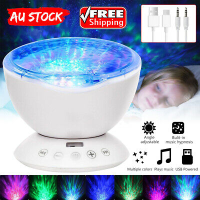 Relaxing Projector Music Ocean Wave Remote LED Night Light Lamp Kids Sleep light