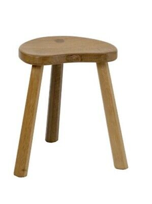 Beautiful ROBERT THOMPSON Mouseman Carved Oak Milking Stool  Small.