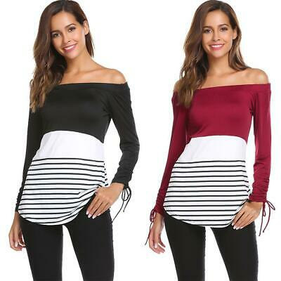 Womens Casual Long Sleeve Slim Striped Patchwork Off Shoulder Fitted GDY7