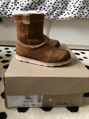 Clark's Crown Piper Tan Suede Infant Boots Size 8.5G