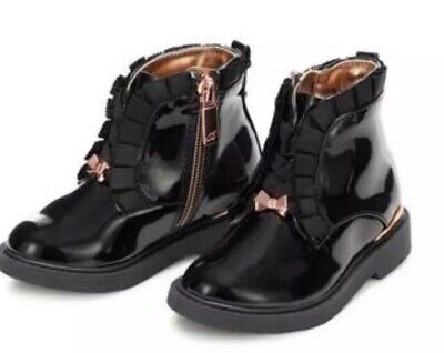 Baker by Ted Baker - Girls' Black Faux Patent Ankle Boots BNWT 12 Infant