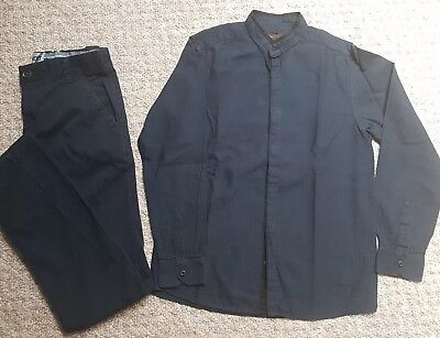 Boys Navy Blue Smart Trousers And Shirt by Next 12yrs Wedding, Party, Occasions