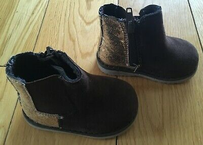Girls Mothercare Brown And Gold Glitter Chelsea Boots Size UK 3