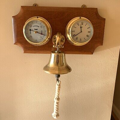 Ships Brass Bell, Clock & Barometer Wall Mounted On Wooden Plaque