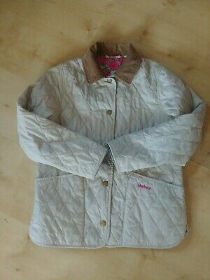 BARBOUR Girls Liddesdale Cream Quilted Jacket size M (8/9) Liberty Art Fabric