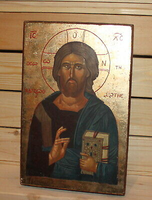 Vintage hand painted Orthodox icon Jesus Christ