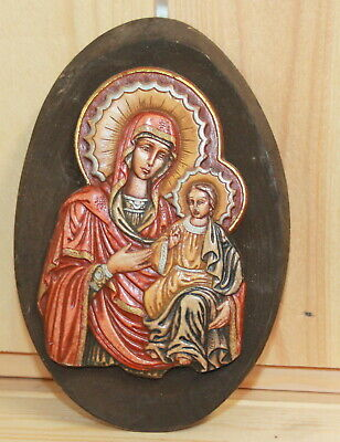 Hand made Orthodox icon Jesus Christ child The Virgin Mary