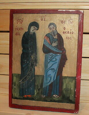Vintage hand painted Orthodox icon Virgin Mary Saint John