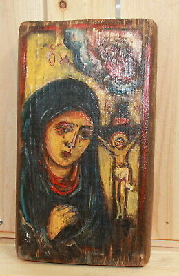 Vintage hand painted Orthodox icon The Virgin Jesus Christ Crucifixion