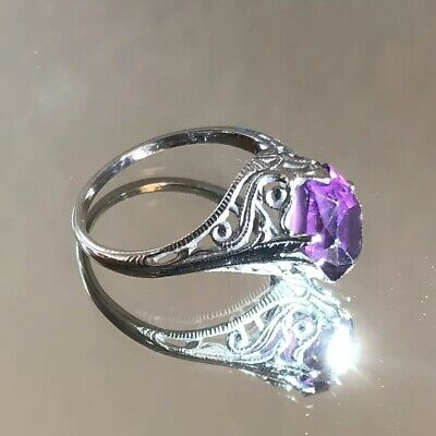 Antique Art Deco 10k White Gold Filigree Amethyst Ring Vintage, Approx Size 4.5