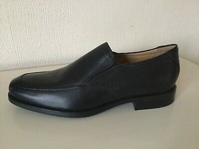GEOX RESPIRA BLACK Leather Loafer Slip On Shoes Size EU 44