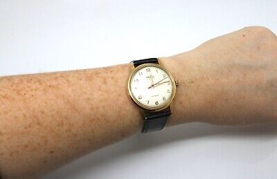 A Nice Vintage Gents Gold Plated Trebex Manual Wind Wristwatch Running #16611