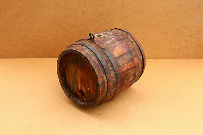 Old Antique Primitive Wooden Wood Barrel Keg Vessel Wine Brandy Signed 1972.