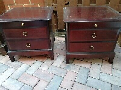 Beautiful pair of antique bedside cabinets. Solid Wood, Red