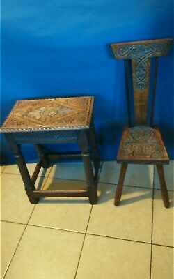 Ben Setter Hand Carved Chair and Carved Stool