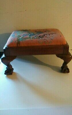 Vintage Small  Wooden Tapestry Topped Footstool Ball and Claw Feet