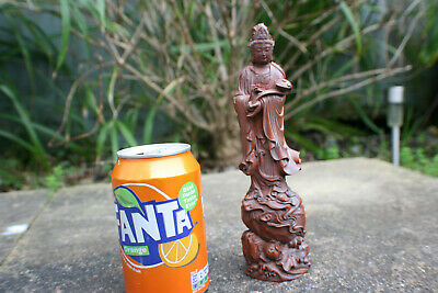 Chinese Wooden Carved Buddha Guan Yin Figurine Statue